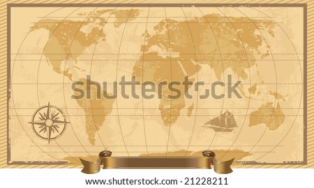 A grunge, rustic world map, illustration