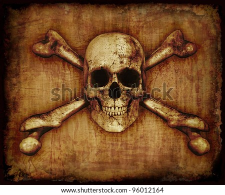 A grunge skull and crossbones on parchment - 3D render with digital painting. - stock photo