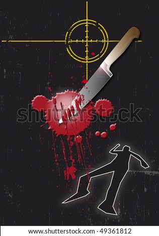 A grunge styled illustration on a crime based theme. A bloody Knife,gun target and body outline on a black base.