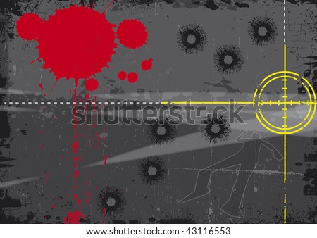 A grunge styled illustration on a crime based theme. A body outline and gun sight set on a grunge style background with bullet holes. - stock photo