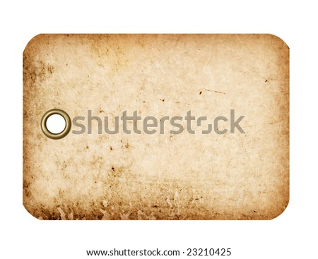 A grungy blank tag with a metal grommet isolated against a white background. - stock photo