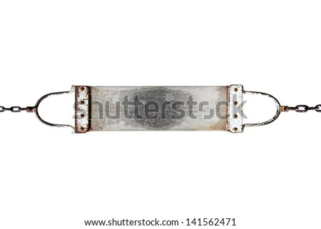 A grungy canvas banner tied to metal chain, isolated against white.  - stock photo