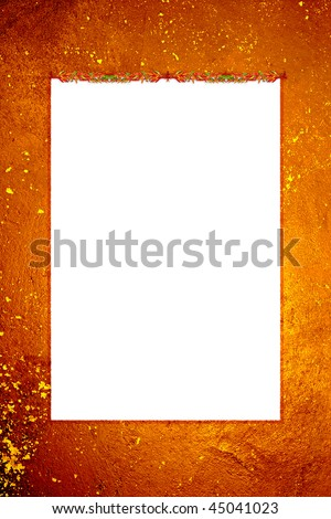 a grungy frame with chili peppers bordering - stock photo