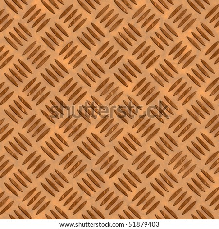 A grungy looking diamond plate metal texture with scratches in a golden tone. This tiles seamlessly as a pattern for an industrial background. - stock photo