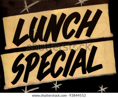 A Grungy Lunch Special Sign In A Cafe Or Restaurant - stock photo