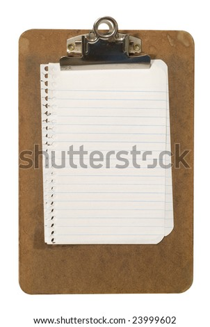 A grungy old clipboard with lined notepaper. File has clipping path.