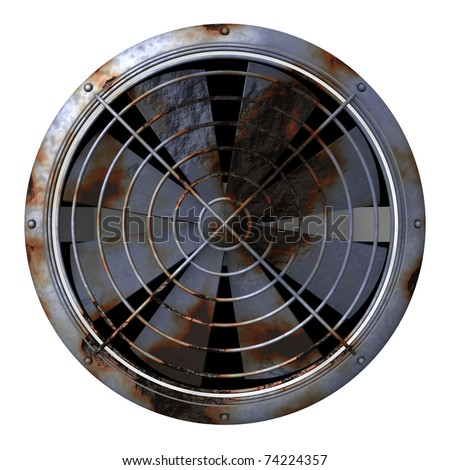 A grungy, rusty looking industrial fan isolated on a white background - stock photo