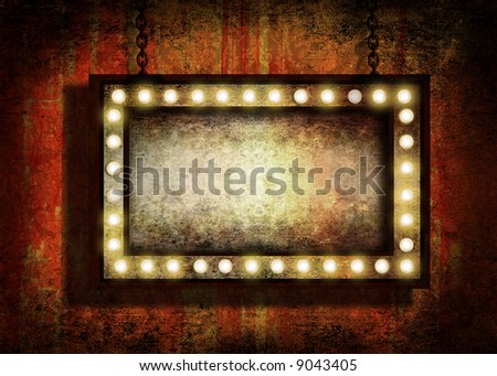 A grungy sign with marquee lights hanging by chains. Grunge velvet wallpaper in the background - stock photo