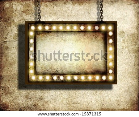 A grungy sign with marquee lights with room for copy - stock photo