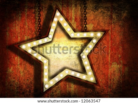 A grungy star sign with marquee lights hanging by chains. Grunge velvet wallpaper in the background. - stock photo