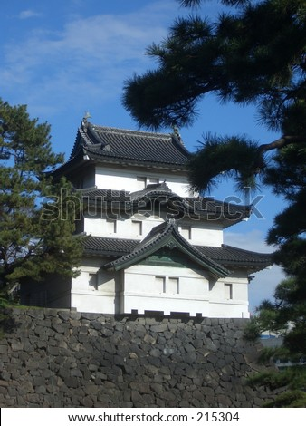 A Guard Tower inside the grounds of the Imperial Palace at Tokyo, Japan. - stock photo