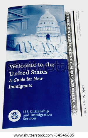 A guide for new US immigrants with a government issued form - stock photo