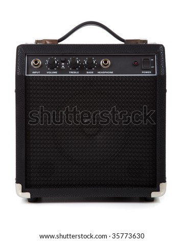 A guitar amp or amplifier on a white background.  Communication or message concept - stock photo