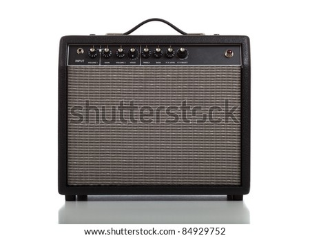 A guitar amplifier or speaker on a white background - stock photo