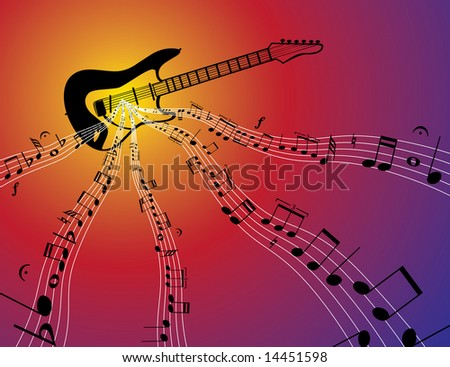 a guitar with bars of music flowing from it - stock photo