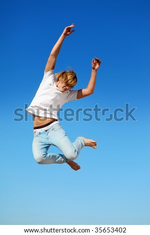 A guy in a jump - stock photo