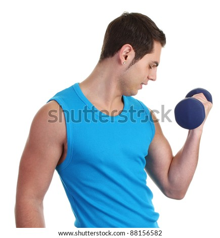A guy lifting a dumbell with a blue vest