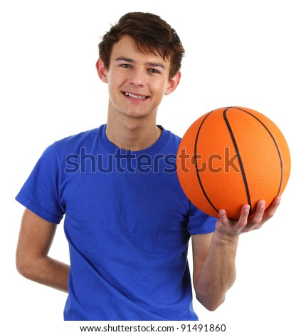 A guy with a basketball - stock photo