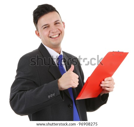 A guy with a clipboard, isolated on white - stock photo