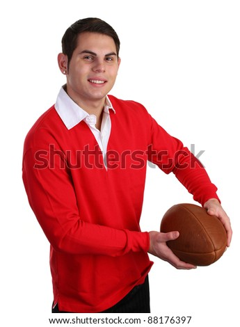 A guy with a rugby ball - stock photo