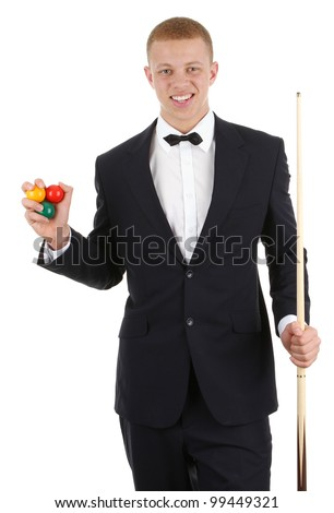 A guy with a snooker cue, and balls, isolated on white