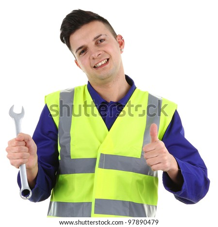 A guy with a spanner and a thumbs up sign, isolated on white - stock photo