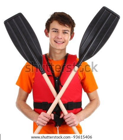 A guy with crossed oars, isolated on white - stock photo