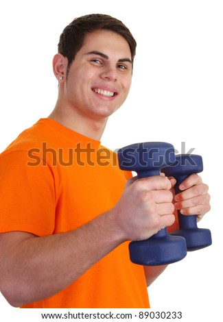 A guy with dumbells smiling with an orange shirt - stock photo