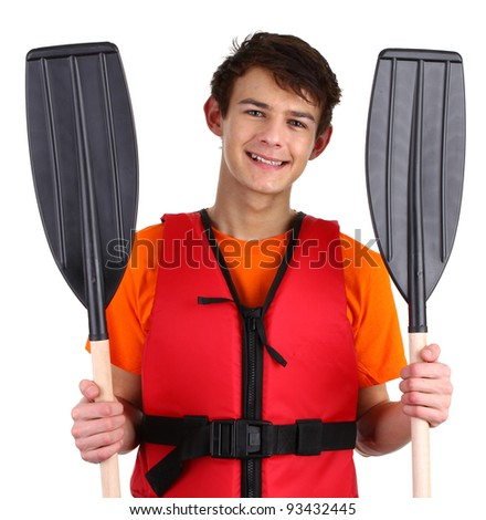 A guy with oars smiling wearing a lifejacket. Isolated on white - stock photo