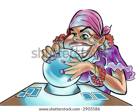 a gypsy woman looking in the crystal ball - stock photo