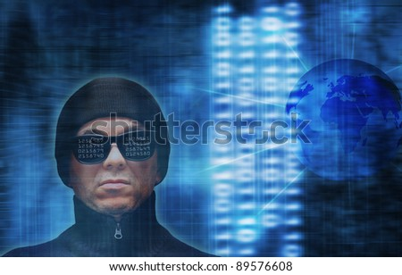 a hacker with computer code reflections on glasses - stock photo