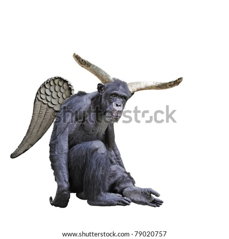 A hairy chimpanzee with big devil horns and wings isolated against white. - stock photo