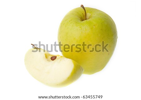 A half and a whole fresh green apple isolated on white background.