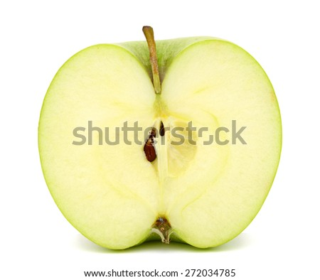 A half green apple isolated white
