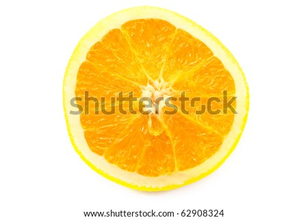 a half of an orange isolated on white - stock photo
