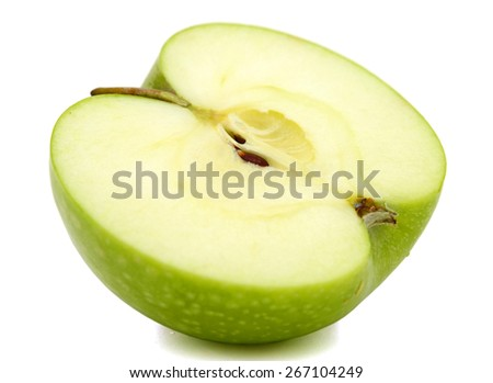 a half of apple on white background  - stock photo
