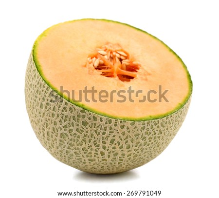 a half of cantaloupe melon on white background  - stock photo