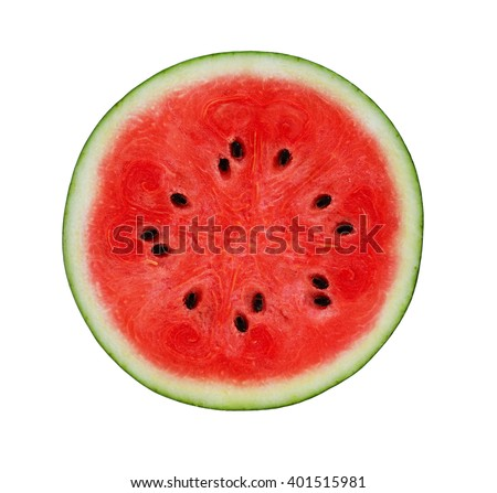 A half of fresh watermelon isolated on white background. - stock photo