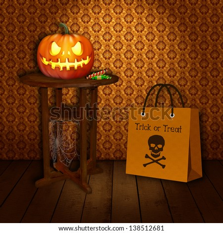 """A Halloween Illustration: Spooky Pumpkin with sweets on a wooden round old table with a spider web and a Halloween """"Trick or Treat"""" bag with a skull and bones print. - stock photo"""