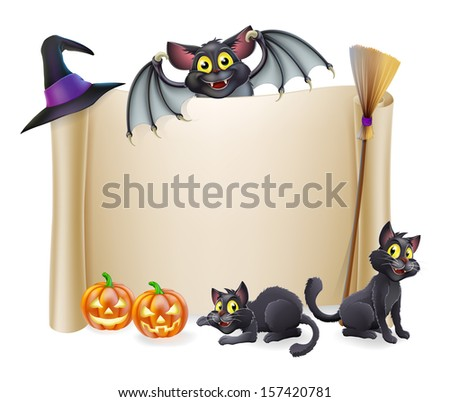 A Halloween scroll sign with a bat character above the banner and pumpkins, witch's cats, hat and broomstick - stock photo
