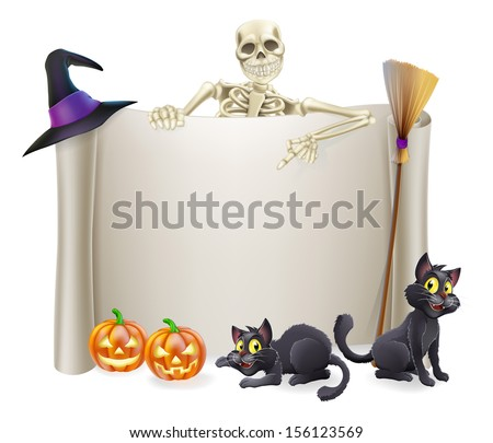 A Halloween scroll sign with a skeleton character above the banner and pumpkins and witch's cats, hat and broomstick - stock photo