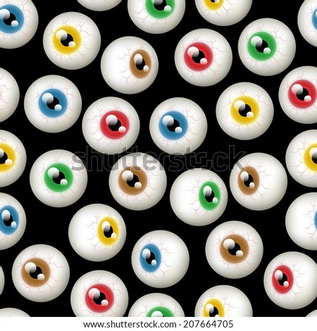 A Halloween themed background depicting different colored eyeballs. Seamlessly repeatable. Raster. - stock photo