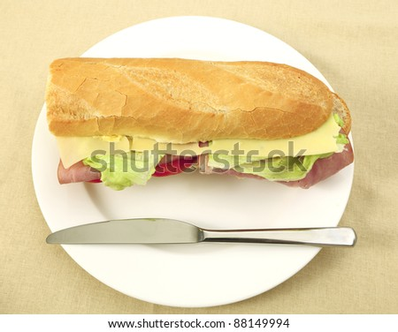 A ham and cheese salad baguette on a plate with a knife from above