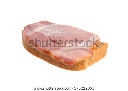 A ham sandwich isolated on white background - stock photo