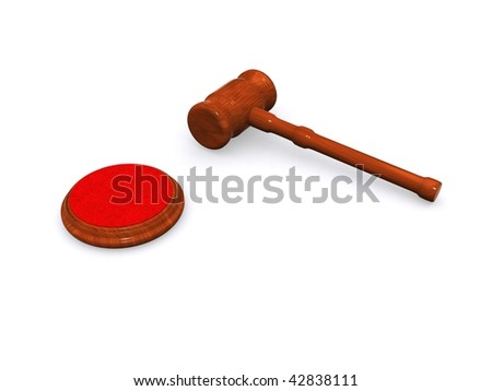 A hammer maded in 3d on a white background - stock photo