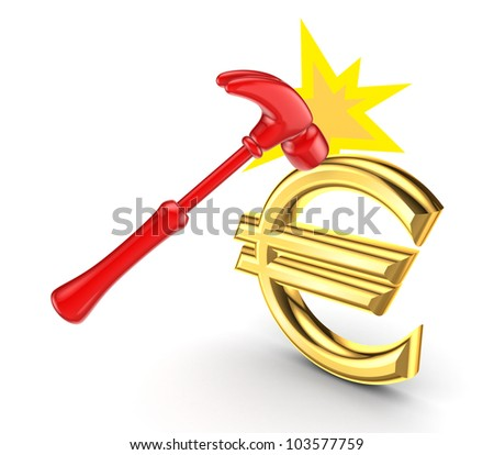 A hammer that hits the sign of the euro.Isolated on white background.3d rendered. - stock photo