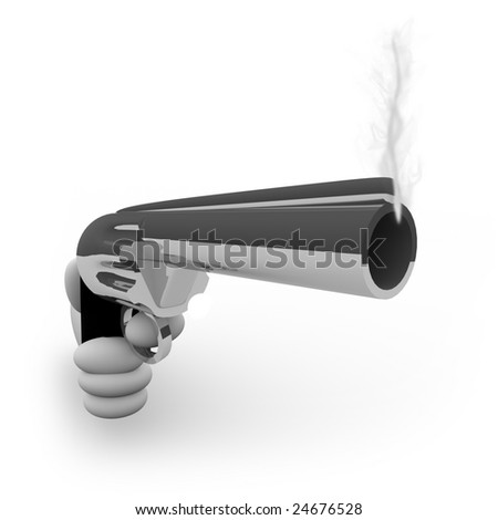 A hand aims a silver handgun that is smoking after firing a bullet