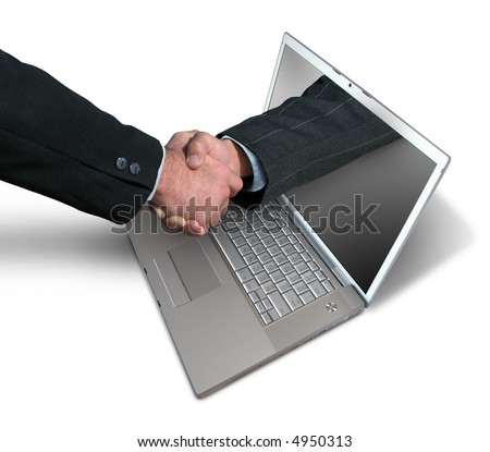 A hand comes right out of the laptop screen to shake hands and close the sale - stock photo