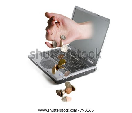 A hand coming out of a computer screen dropping coins