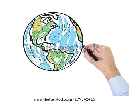 A hand drawing a globe (North and South Americas)